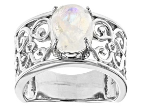 Pre-Owned Oval rainbow moonstone rhodium over sterling silver solitaire ring 2.55ct