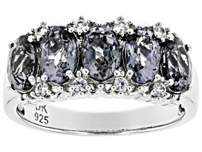 Pre-Owned Gray Spinel Rhodium Over Silver Band Ring 2.45ctw