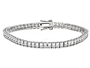 Pre-Owned White Cubic Zirconia Rhodium Over Sterling Silver Tennis Bracelet 9.30ctw