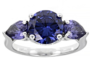 Pre-Owned Blue Cubic Zirconia Rhodium Over Sterling Silver Ring 6.80ctw