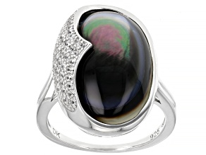 Pre-Owned Tahitian Mother-of-Pearl And White Zircon Rhodium Over Sterling Silver Ring