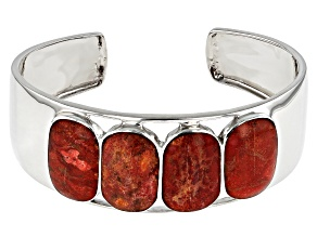 Pre-Owned Red Sponge Coral Rhodium Over Sterling Silver Cuff Bracelet 21.56ctw