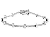 Pre-Owned White Cubic Zirconia Rhodium Over Sterling Silver Tennis Bracelet 4.20ctw