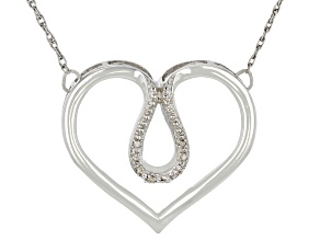 Pre-Owned White Diamond Accent Rhodium Over Sterling Silver Heart Necklace
