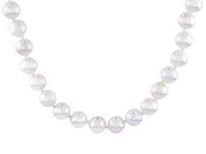 Pre-Owned White Cultured Japanese Akoya Pearl 14k Yellow Gold Strand Necklace