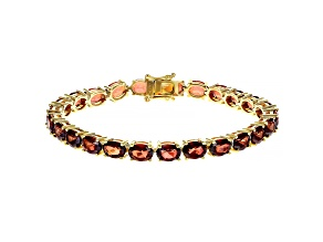 Pre-Owned Red Labradorite 18k Gold Over Silver Bracelet 16.53ctw
