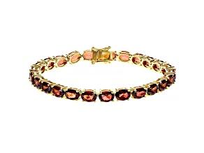 Pre-Owned Red Labradorite 18k Gold Over Silver Bracelet 16.53ctw