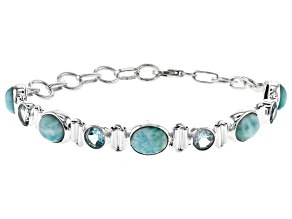 Pre-Owned Blue Larimar Sterling Silver Station Bracelet 14.5ctw
