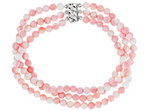 Pre-Owned 4mm Pink Conch Shell Bead Rhodium Over Sterling Silver 3-Row 7.25 Inch Bracelet