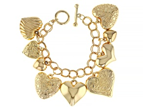 Pre-Owned Gold Tone Heart Charm Bracelet