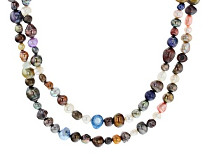 Pre-Owned Multi-Color Cultured Freshwater Pearl 62 Inch Endless Strand Necklace Set of 2
