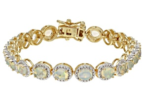 Pre-Owned Multicolor Ethiopian Opal 18k Yellow Gold Over Sterling Silver Bracelet 4.05ctw