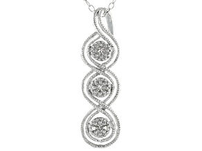 Pre-Owned White Diamond Accent Rhodium Over Sterling Silver Pendant With Cable Chain