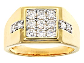 Pre-Owned Moissanite 14k yellow gold over sterling silver mens ring 1.14ctw DEW.