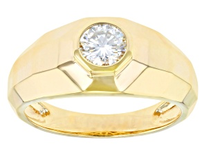 Pre-Owned Moissanite 14k yellow gold over sterling silver mens ring .80ct DEW.