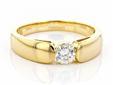 Pre-Owned Moissanite 14k Yellow Gold Over Silver Mens Ring .60ct DEW.