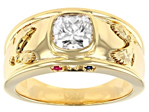 Pre-Owned Moissanite and blue sapphire with ruby 14k yellow gold over silver mens eagle ring 1.74ctw