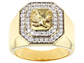 Pre-Owned Moissanite 14k yellow gold over sterling silver mens eagle ring 1.04ctw DEW