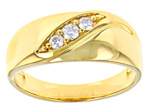 Pre-Owned Moissanite 14k yellow gold over silver mens ring .22ctw DEW.