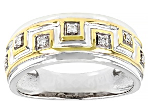 Pre-Owned Moissanite Platineve And 14k Yellow Gold Over Platineve Mens Ring .14ctw DEW.