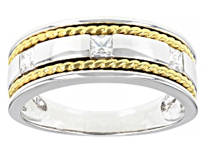 Pre-Owned Moissanite Platineve And 14k Yellow Gold Over Platineve Mens Ring .54ctw DEW.