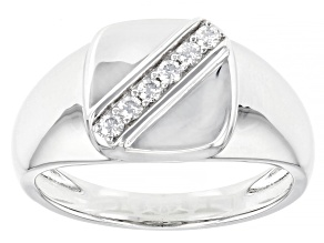 Pre-Owned Moissanite Platineve Mens Ring .18ctw DEW.