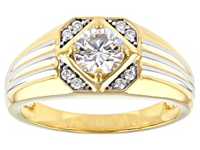 Pre-Owned Moissanite 14k yellow gold over platineve and Platineve(R) mens ring 1.16ctw DEW