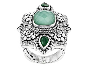 Pre-Owned Green Mint Chrysoprase Doublet Silver Ring .64ctw