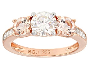 Pre-Owned Moissanite And Morganite 14k Rose Gold over Silver Ring 1.08ctw DEW.
