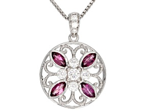 Pre-Owned Moissanite And Rhodolite Garnet Platineve Pendant   .39ctw DEW