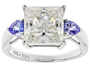 Pre-Owned Moissanite And Tanzanite Platineve Ring 4.30ct DEW