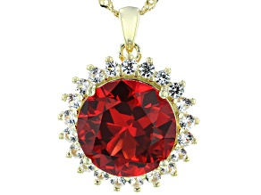 Pre-Owned Orange Lab Created Padparadscha Sapphire 18k Gold Over Silver Pendant With Chain 7.95ctw
