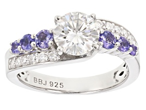Pre-Owned Moissanite And Tanzanite Platineve Ring 1.44ctw DEW.