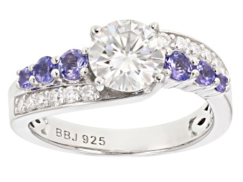 Picture of Pre-Owned Moissanite And Tanzanite Platineve Ring 1.44ctw DEW.