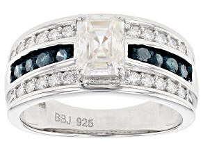 Pre-Owned Moissanite with Blue Diamond Platineve ring 1.41ctw DEW.