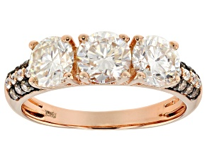 Pre-Owned Moissanite and champagne diamond 14k rose gold over silver ring. 1.88ctw DEW