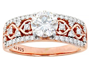 Pre-Owned Moissanite 14k Rose Gold Over Silver Ring 1.44ctw DEW.