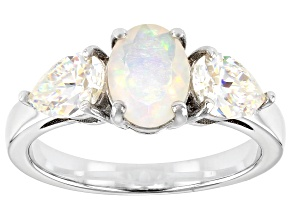 Pre-Owned Multi-color Opal Rhodium Over Sterling Silver Ring 2.24ctw