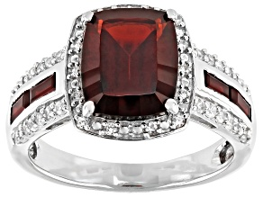 Pre-Owned Red Garnet Rhodium Over Silver Ring 4.48ctw
