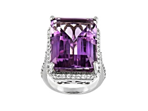 Pre-Owned Amethyst Rhodium Over Sterling Silver Ring 20.15ctw