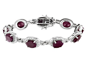 Pre-Owned Red Ruby Rhodium Over Sterling Silver Bracelet 20.92ctw