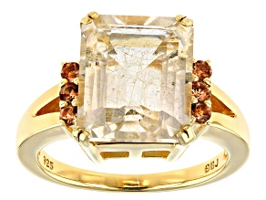 Pre-Owned Yellow Rutilated Quartz 18k Gold Over Silver Ring 4.86ctw