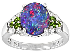 Pre-Owned Multi-color Australian Opal Triplet Rhodium over Silver Ring .50ctw