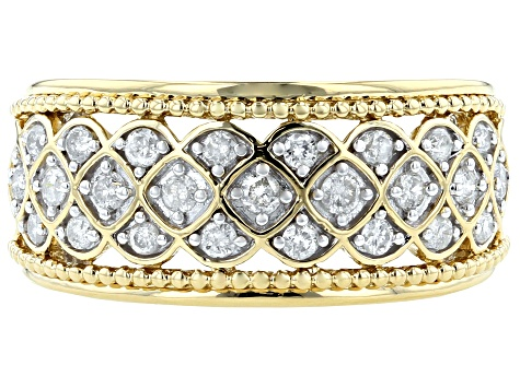 Pre-Owned White Diamond 14k Yellow Gold Over Sterling Silver Ring 0.50ctw