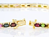 Pre-Owned Multicolor multi tourmaline 18k yellow gold over sterling silver bracelet 7.04ctw