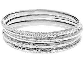 Pre-Owned Sterling Silver Diamond Cut 4 PC Slip on Bangle Set 8 inch