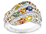 Pre-Owned Mixed-Color Sapphire Rhodium Over Sterling Silver Ring 5.13ctw