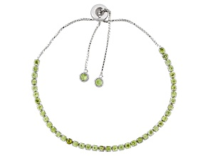 Pre-Owned Green Peridot Rhodium Over Sterling Silver Adjustable Tennis Bracelet 3.11ctw