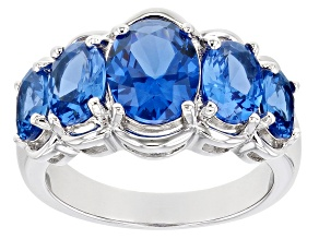 Pre-Owned Blue Lab Created Spinel Rhodium Over Silver Ring 3.93ctw