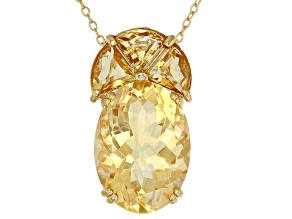 Pre-Owned Yellow citrine 18k gold over silver pendant with chain 11.42ctw